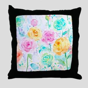 Watercolor Ranunculus Flower Pattern Throw Pillow