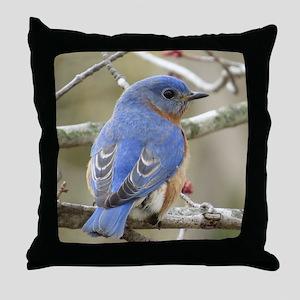 Backside Bluebird Throw Pillow