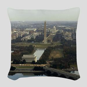 Washington DC Aerial Photograp Woven Throw Pillow