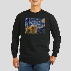 Starry Night & 2 Wheatens Long Sleeve Dark T-Shirt