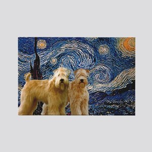 Starry Night & 2 Wheatens Rectangle Magnet