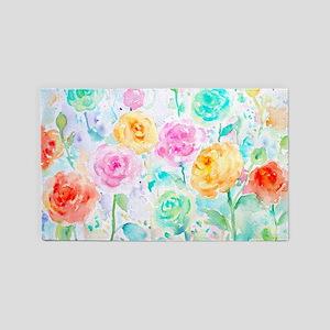 Watercolor Ranunculus Flower Pattern Area Rug