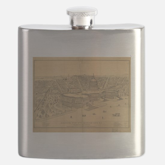 Vintage Pictorial Map of Washington D.C. (18 Flask