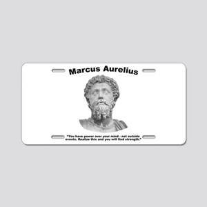 Aurelius: Strength Aluminum License Plate