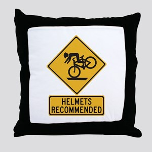 Helmets Recommended w/text - USA Throw Pillow