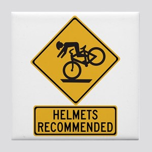 Helmets Recommended w/text - USA Tile Coaster