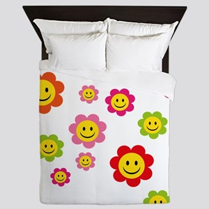 Flower Power smiley Queen Duvet