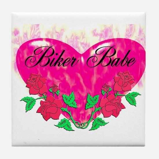 BIKER BABE HEART Tile Coaster