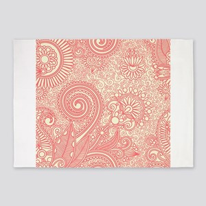 Floral Paisley Curly Swirly Print P 5'x7'Area Rug