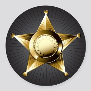 Sheriff Star Round Car Magnet