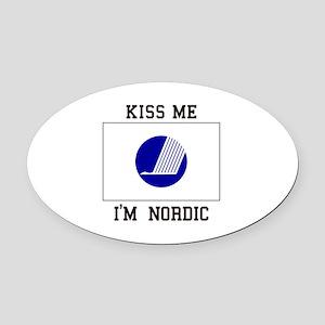 Kiss me i'M Nordic Oval Car Magnet