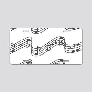 White - Music, Music, Music Aluminum License Plate