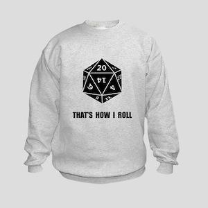 20 Sided Dice Roll Kids Sweatshirt