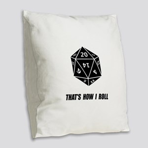 20 Sided Dice Roll Burlap Throw Pillow