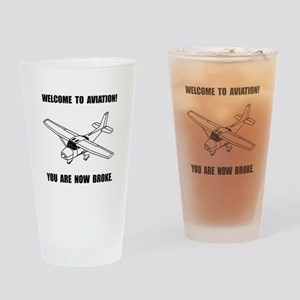 Aviation Broke Drinking Glass