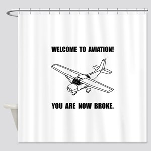 Aviation Broke Shower Curtain