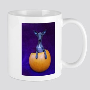 Pup in Pumpkin Mugs