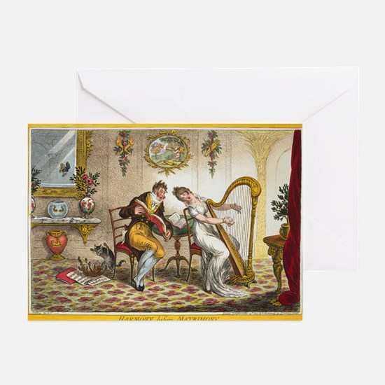 Victorian Courtship and Harp Music Greeting Cards