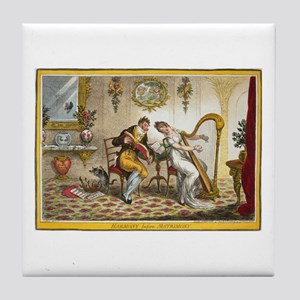 Victorian Courtship and Harp Music Tile Coaster
