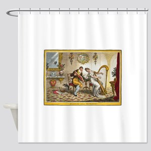Victorian Courtship and Harp Music Shower Curtain
