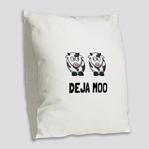 Deja Moo Burlap Throw Pillow