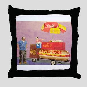 New Orleans Lucky Dog Cart Throw Pillow