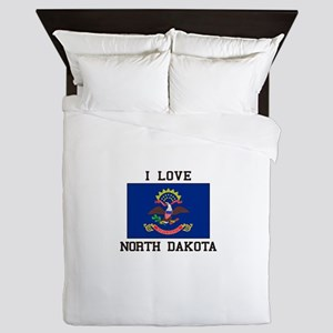I Love North Dakota Queen Duvet