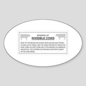Beware of Invisible Cows, Hawaii (US) Sticker (Ova
