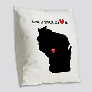 WISCONSIN Home is Where the He Burlap Throw Pillow