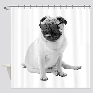 The Shady Pug Shower Curtain