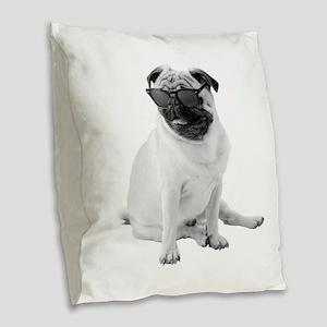 The Shady Pug Burlap Throw Pillow