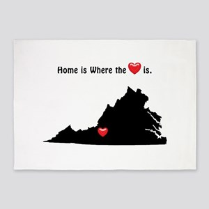 VIRGINIA Home is Where the Heart Is 5'x7'Area Rug