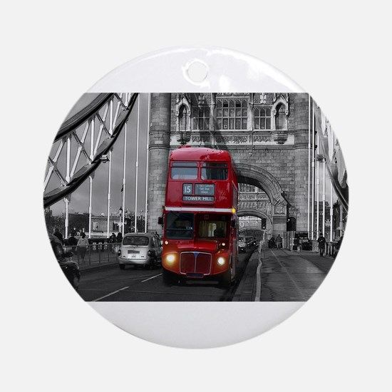 Lon Bus on Tower Bridge Ornament (Round)