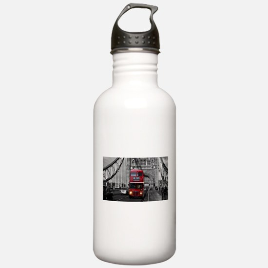 Lon Bus on Tower Bridge Water Bottle