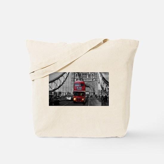 Lon Bus on Tower Bridge Tote Bag