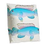 Blue Congo Cichlid Burlap Throw Pillow