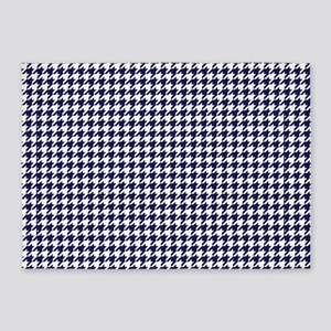 Navy Blue Houndstooth 5'x7' Area 5'x7&
