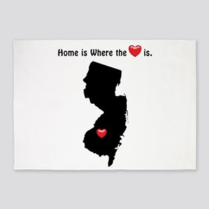 NEW JERSEY Home is Where the Heart 5'x7'Area Rug