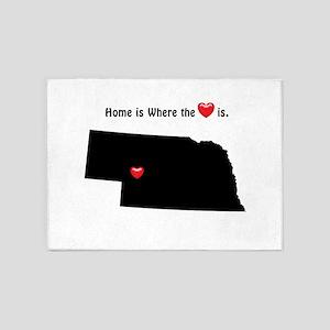 NEBRASKA Home is Where the Heart Is 5'x7'Area Rug
