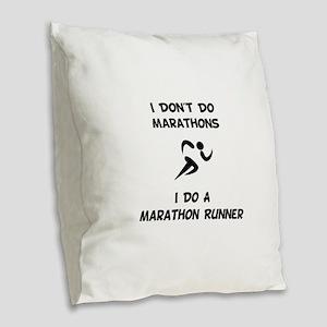 Do A Marathon Runner Burlap Throw Pillow