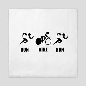 Duathlon Run Bike Run Queen Duvet