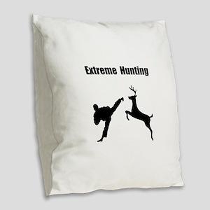Extreme Hunting Burlap Throw Pillow