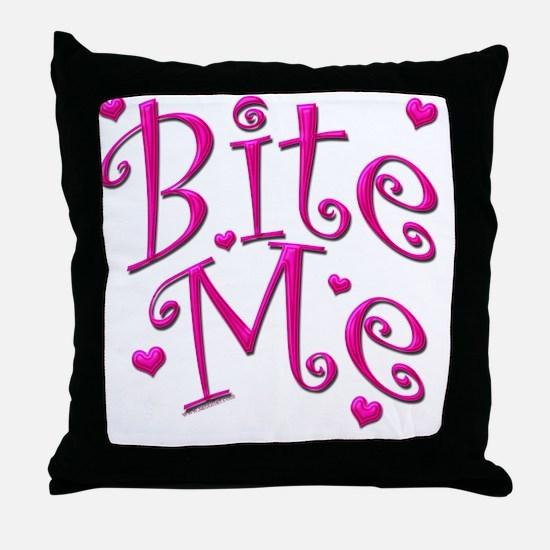 BiteMePink 10x10.png Throw Pillow