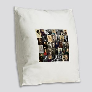 Composers Collage Burlap Throw Pillow
