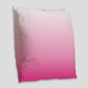 ombre hot pink Burlap Throw Pillow