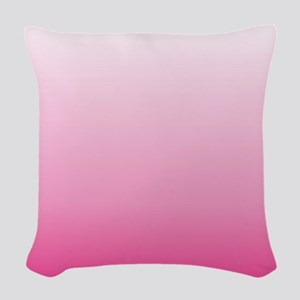 ombre hot pink Woven Throw Pillow