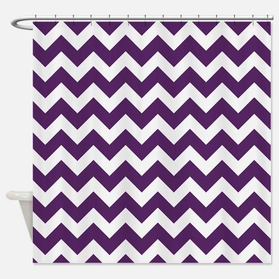 Purple Power Chevron Stripes Shower Curtain