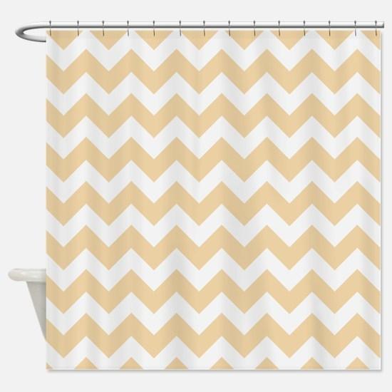 Sandy Tan Chevron Pattern Shower Curtain