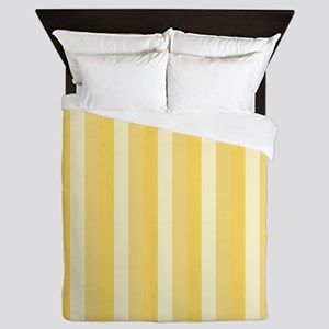 Bright Cheery Yellow Vertical Stripes Queen Duvet