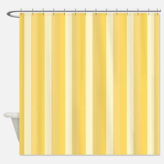 Bright Yellow Stripes Pattern Shower Curtain